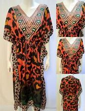 PLUS SIZE TRIBAL LEOPARD PRINT KAFTAN MAXI DRESS CORAL 18 20 22 24 26 28 30 32