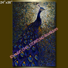 """YH1179 24*36"""" Hand painted Oil Canvas Wall Art home Abstract Peacock NO Frame"""