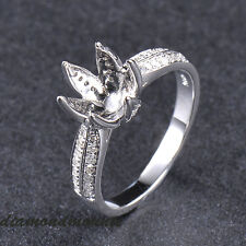 8.5MM ROUND CUT SOLID 14K WHITE GOLD NATURAL DIAMOND SEMI MOUNT SETTING RING