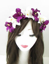 Purple White Orchid Flower Headband Hair Crown Festival Floral Boho Vintage 134
