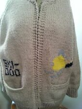 SKI DOO vintage cowichan knit wool cardigan sweater old snowmobile wool jacket!
