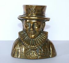 Vintage CAST BRASS English ROYAL BEEFEATER Guard BUST Figural MONEY BOX England