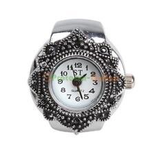 Cute Creative Women Girls Petal Flower Silver Quartz Finger Ring Watch gift New