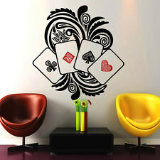 Poker Wall Decals Cards Decal Vinyl Sticker Bedroom Dorm Floral Art Decor NA318