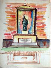 Acquerello '900 su carta Watercolor Architettura futurista cubista razionale-52