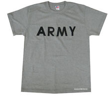 Mens Army Military US British Surplus Combat T-shirt Tshirt Grey Training Large