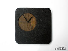 Black Granite Concrete and Wood Wall Clock / Modern Square Wall Clock