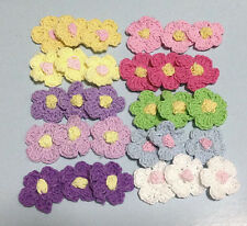 50 Crochet Daisy 25mm Flowers Appliques Trim Doll Yarn Knit Sewing 10 Colors Mix