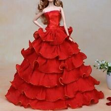 Red Handmade Royalty Princess Party Bridal Gown Dress Clothes for Barbie Doll
