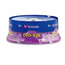 15 Verbatim DVD+R DL AZO 8.5GB 8x-10x Branded Double Layer Recordable Disc 95484