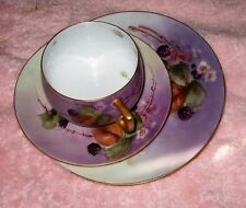 Antique Hand Painted China Cups and Saucers Plates Blackberries Signed 15 Pcs