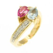 Authentic K18YG PT Color Stone Ring  #260-000-926-7800