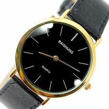 GENTS CLASSIC BUSINESS BLACK DIAL DESIGN BLACK BAND GOLD STAINLESS STEEL WATCH