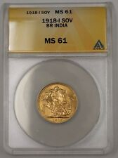 1918-I British India One Sovereign Gold Coin ANACS MS-61