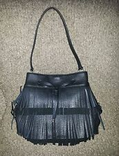 *RALPH LAUREN*-Cobden-Black Leather Fringe Drawstring Shoulder Bag-NWOT