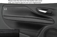 BLACK STITCH 2X DOOR CARD TRIM SKIN COVERS FITS FIAT PUNTO GRANDE EVO 10-14 3DR