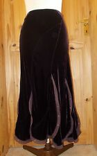 PER UNA M&S dark purple SILK velvet midi  STEAMPUNK VICTORIANA skirt 12L 40
