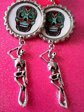 Day Of The Dead Sugar Skull With Skeleton Dangle Charm Earrings #8