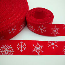 NEW 5 Yards 1'' 25mm Red Snowflake Printed Grosgrain Ribbon Hair Bow DIY D24