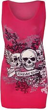 New Womens Forever Young Glitter Sequin Skull Racer Back Vest Tops 8-10 12-14