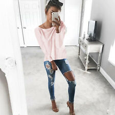 Women Ladies Loose Long Sleeve T-shirt Tee Criss Cross Back Pullover Jumper Tops