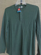 NWT Mens Hanes Classics Comfort Blend Waffle Weave L/S Henley L Forest $27.msrp
