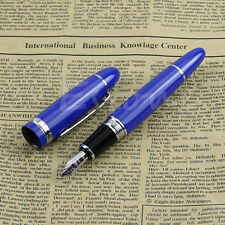 Hot Deluxe Steel Jinhao 159 Blue And Silver Trim Medium Nib Smooth Fountain Pen