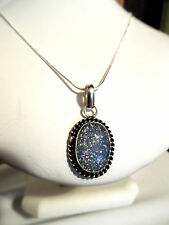 """New Fake AUSTRALIAN OPAL Silver Plated 17"""" Necklace Set Rope chain Oval Pendant"""