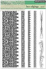 Lace Edging Borders, Clear Unmounted Rubber Stamp Set PENNY BLACK- NEW, 30-212