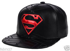 Superman DC Comics Leather Snapback Adjustable Hat Cap Black Red NWT