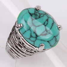 Tibetan Silver Women Mens US Size 7.5 Iron line Oval Turquoise Ring Jewelry D856