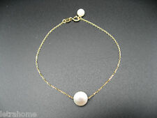"7"" 18k Solid Gold AAA Round White Akoya Cultured Sea Pearl Bracelet 17cm Present"
