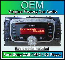 Ford Mondeo CD MP3 player with DAB radio, Ford Sony DAB car stereo with Code