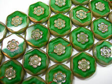 10 15mm Czech Glass Green Silk Picasso Flower Coin Beads