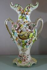 Antique Coalport Coalbrookdale Twin Handled Flower Encrusted Vase Castle Scenes