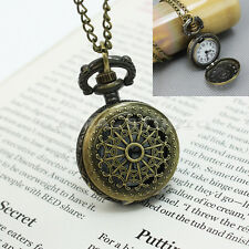 Antique Retro Bronze Steampunk Quartz Pocket Watch Pendant Necklace Chain