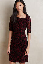 New ANTHROPOLOGIE Elorn Dress $158 Wine Stretch Lace Dress by MAEVE Size 0