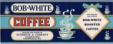 TIN CAN LABEL VINTAGE COFFEE ORIGINAL 1920S GENERAL STORE BOB WHITE ROASTED