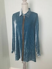 Soft Surroundings Womens XL Teal Rayon Silk Velvet Exposed Zipper Tunic Blouse