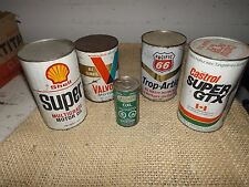 lot of 5 FULL VALVOLINE Shell  MOTOR OIL QUART OIL CANS