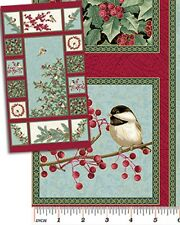 Chickadee's and Berries Christmas Holiday Cotton Quilting Panel Fabric Benartex