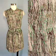 DKNY JEANS Abstract Art Print Cotton Silk Green Gray Belted Button Shirt Dress S