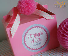 Personalised Wedding HEN PARTY Favour Box Activity Handmade Pink Pom Pom