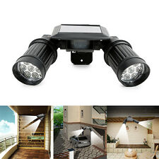 Dual Head LED Solar PIR Activated Security Light Floodlight Spotlight Adjustable