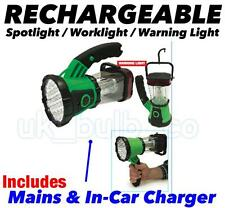 Rechargeable 19 LED Spotlight, 360° Worklight & Warning Torch Mains+Car Charger