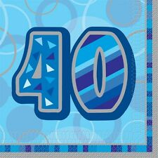 "16 Happy 40th Birthday Blue Sparkle 6.5"" Party Tableware Napkins"