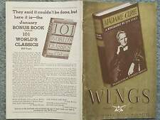 1937 WINGS MAGAZINE THE LITERARY GUILD MAGAZINE DECEMBER VOL 11 NO 12  EVE CURIE