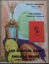 1955 Chicago Bears at Los Angeles Rams Program GD-VG Blanda George Van Brocklin