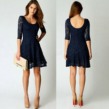Fashion Women Lace Half Sleeve Hollow Party Evening Cocktail Short Mini Dress Z1