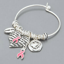 Silver Breast Cancer Awareness Pink Ribbon Heart Charms Bangle Bracelet